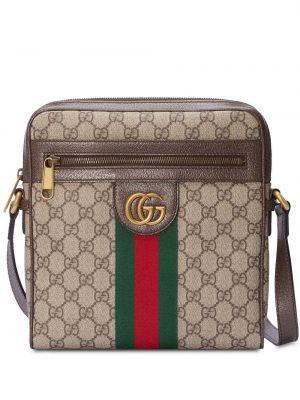 Brązowa torebka crossbody skórzana miejska Gucci