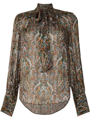 С рукавами шелковая коричневая прямая блузка Veronica Beard
