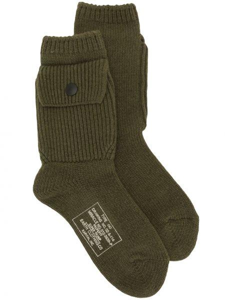 Зеленые шерстяные носки с манжетами Kapital
