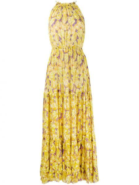 Желтое шелковое платье макси с поясом Missoni