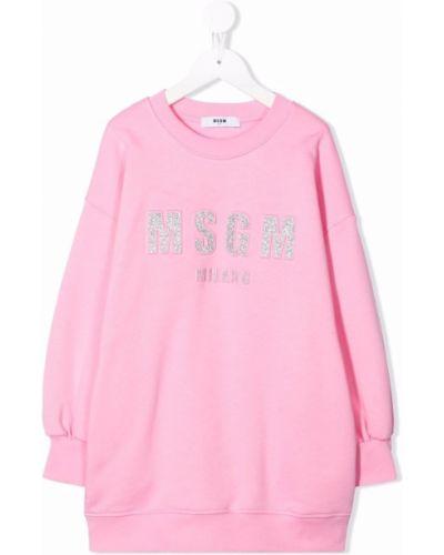 Różowa sukienka prążkowana Msgm Kids