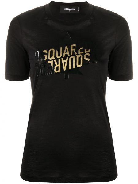 Трикотажная черная футболка с вырезом Dsquared2