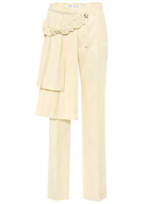 Beżowy wełniany spodnie Off-white