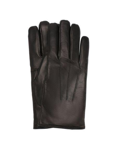 Кожаные черные кожаные перчатки Brioni