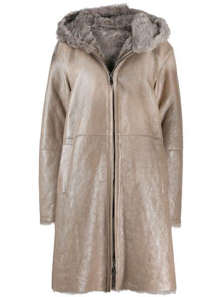 Кожаное длинное пальто с капюшоном на молнии Manzoni 24