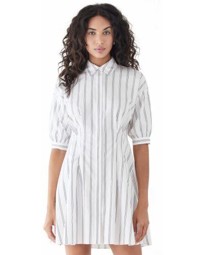 Белое платье с короткими рукавами с декольте Club Monaco
