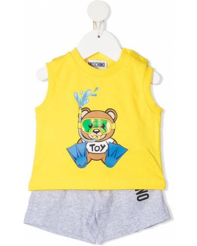 Żółty dres bawełniany z printem Moschino Kids