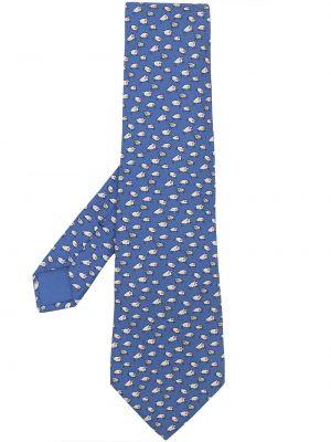 Синий шелковый галстук винтажный Hermès