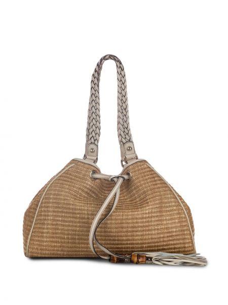 Кожаная плетеная сумка на плечо на шнурках Gucci Pre-owned
