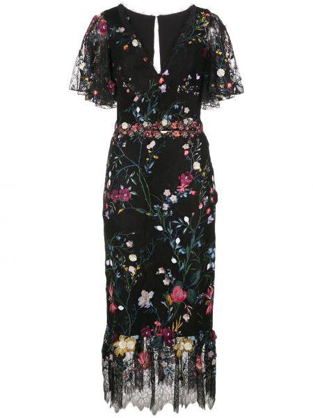 Кружевное платье миди - черное Marchesa Notte