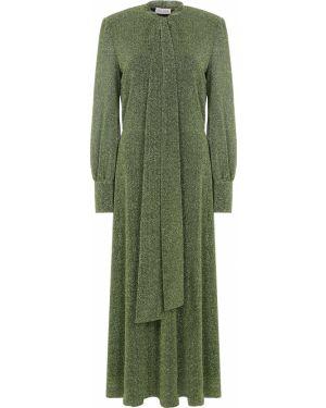 Зеленое вечернее платье с воротником свободного кроя узкого кроя A La Russe