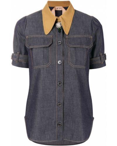 Синяя рубашка хлопковая N21