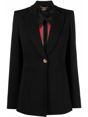 Шерстяной однобортный черный удлиненный пиджак Versace