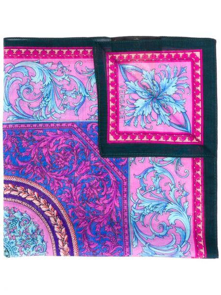 Prążkowany fioletowy szalik bawełniany Versace