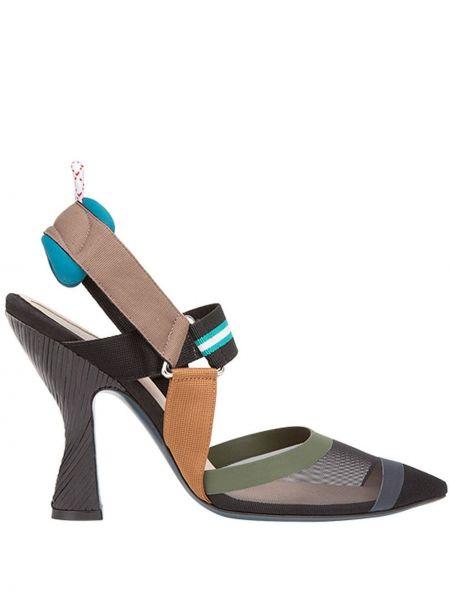 Туфли-лодочки на каблуке с открытым носком Fendi
