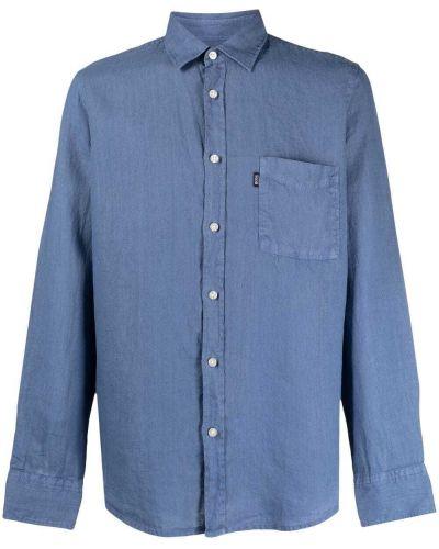 Niebieska koszula z długimi rękawami zapinane na guziki Boss Hugo Boss