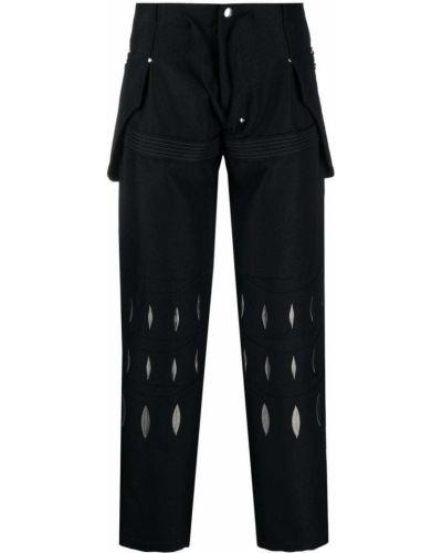 Czarne spodnie bawełniane z haftem Kiko Kostadinov