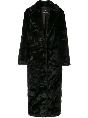 Черная длинное пальто из искусственного меха с воротником Unreal Fur