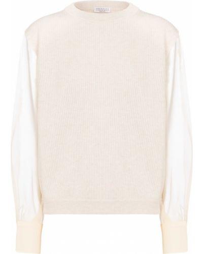 Ватный бежевый свитер из фатина Brunello Cucinelli
