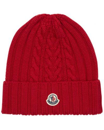 Wełniany czapka zimowa z łatami Moncler