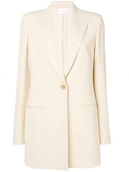 Шелковый бежевый пиджак с карманами The Row