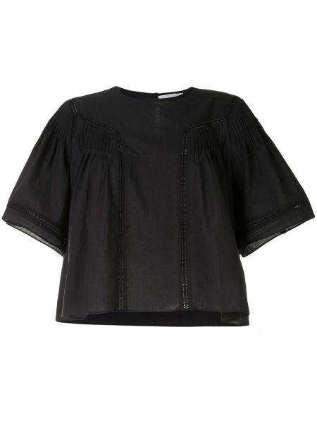 Czarny bluzka z krótkim rękawem z haftem okrągły okrągły dekolt Anine Bing