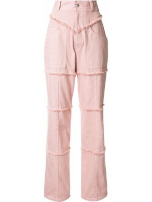 Różowe jeansy z wysokim stanem bawełniane Ambush