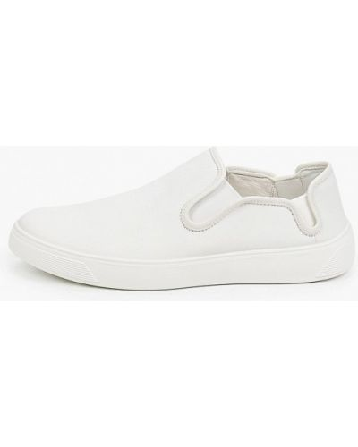 Белые кожаные слипоны Ecco