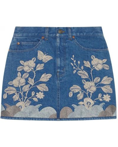 Юбка мини джинсовая с вышивкой Gucci