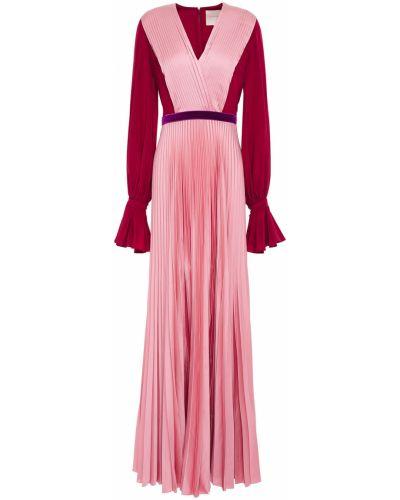 Satynowa sukienka długa z paskiem zapinane na guziki Roksanda