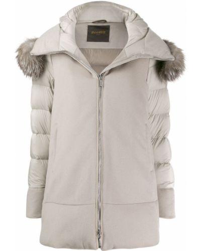 Белое пуховое пальто с капюшоном Moorer