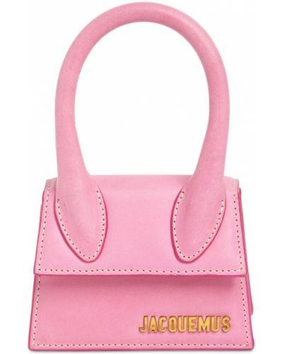 Розовая кожаная сумка с подкладкой Jacquemus