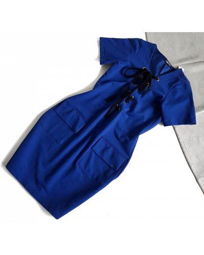 Платье с короткими рукавами - синее Shotelli