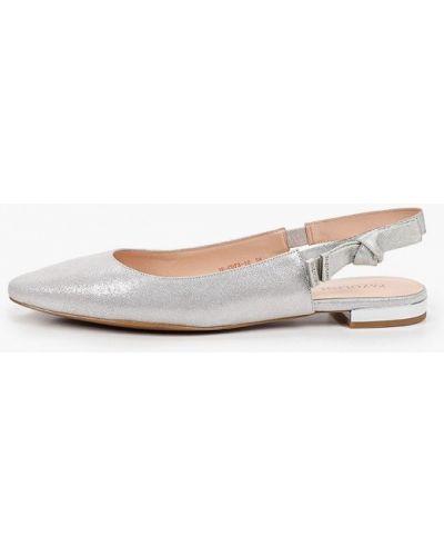 Велюровые серебряные туфли с открытой пяткой Pazolini