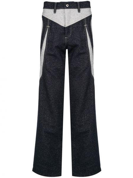 Niebieskie spodnie bawełniane z paskiem Kiko Kostadinov