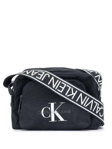 Черная сумка через плечо на молнии с карманами Calvin Klein