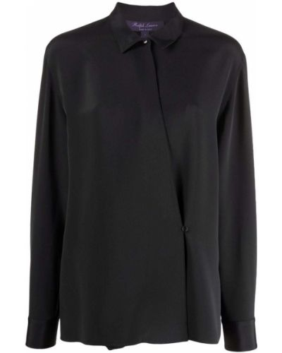 Czarna koszula z długimi rękawami asymetryczna Ralph Lauren Collection
