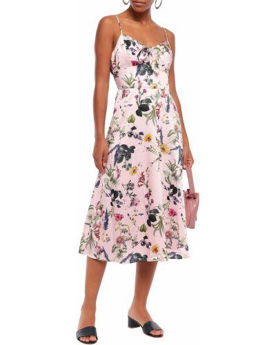 Różowa satynowa sukienka midi rozkloszowana Bailey 44