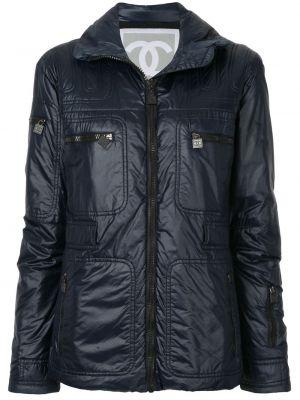 Синяя дутая куртка на молнии с поясом Chanel Pre-owned