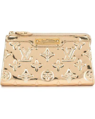 Золотистая косметичка на молнии золотая Louis Vuitton