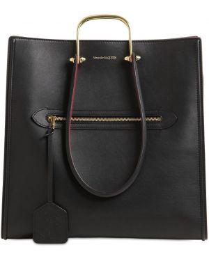 Кожаная сумка с ручками с логотипом Alexander Mcqueen