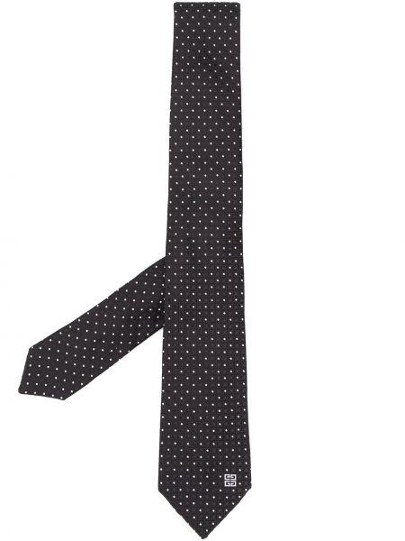 Jedwab srebro krawat z haftem Givenchy