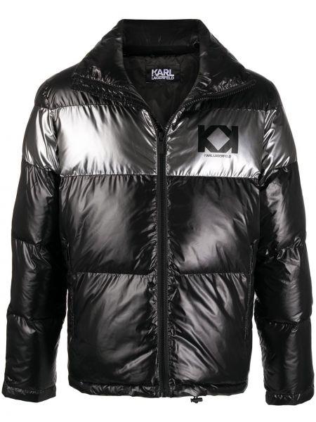 Puchaty srebro długa kurtka z długimi rękawami z kieszeniami Karl Lagerfeld