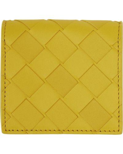 Żółty portfel srebrny Bottega Veneta