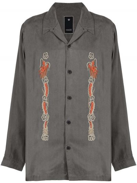 Серая с рукавами рубашка с вышивкой Maharishi