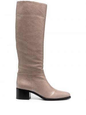 Skórzany buty na wysokości w połowie kolana na pięcie z ostrym nosem Prada