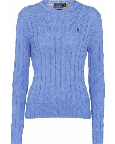 Ватный хлопковый синий свитер Polo Ralph Lauren