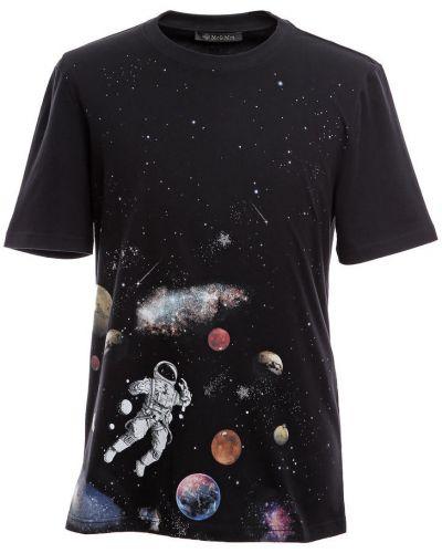Czarny t-shirt z printem Mr&mrs Italy