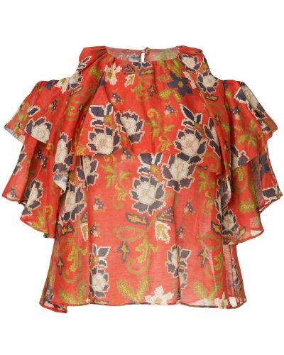 Блузка с открытыми плечами с цветочным принтом Muller Of Yoshiokubo