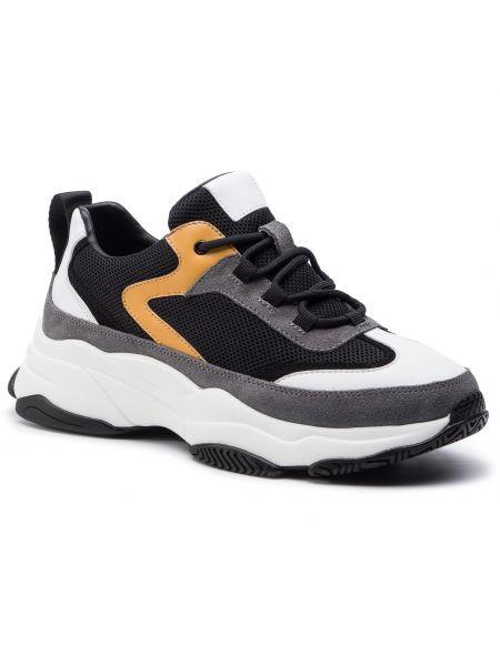 Czarne sneakersy na koturnie Kazar